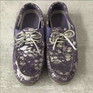 Sperry Purple and Silver Shoes Size 5